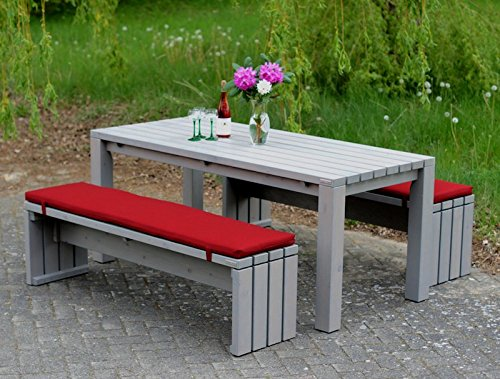 Gartenmöbel Set 3 Holz, inkl. Polstern, Oberfläche: Transparent Geölt Grau