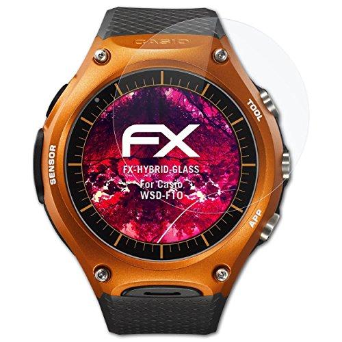 atFoliX Glasfolie kompatibel mit Casio WSD-F10 Panzerfolie, 9H Hybrid-Glass FX Schutzpanzer Folie