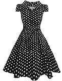 Zeagoo Damen Vintage 50er Jahre Kleid Swing Rockabilly Cocktailkleider Partykleider Sommerkleider Kurzarm mit Gürtel Schwarz Weiß XXL