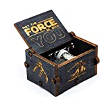 Black Wood Star Wars Music Box, Antique Carved Hand Cranked Wooden Musical Boxes Home Decoration Crafts for Children Gifts