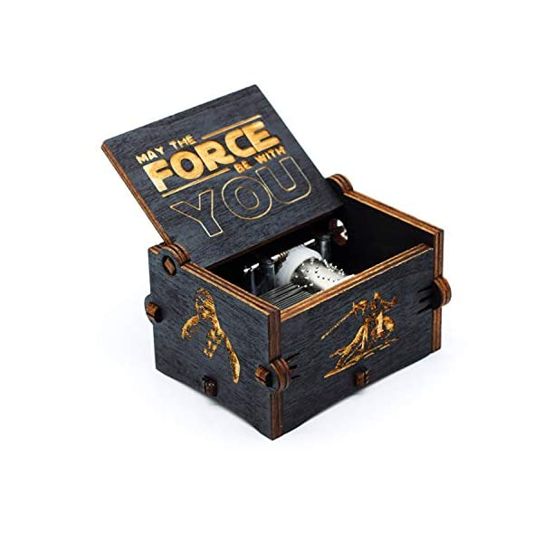 Black Wood Star Wars Music Box, Antique Carved Hand Cranked Wooden Musical Boxes Home Decoration Crafts for Children Gifts 1
