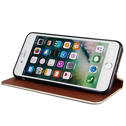 Hülle für iPhone 7 plus , Schutzhülle Für iPhone 7 Plus Schöne Elegante Magnetverschluss PU Leder Schutzhülle ,hülle für iPhone 7 plus , case for iphone 7 plus ( Color : Black ) Brown