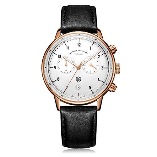 DuFa Unisex Chronograph Quarz Uhr mit Leder Armband DF-9003-04