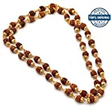 RUDRAKSHA GOLDEN CAP MALA WITH ORIGINAL 5 FACE RUDRAKSHA 5mm Rudraksha, RUDRA DIVINE self Certified | Neck Size | wearing Purpose | Golden Finishing for Unisex