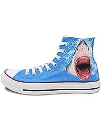 Uomo Donna Converse scarpe squalo nel mare dipinto a mano alto Tela Scarpe  Regali 8c10d393434