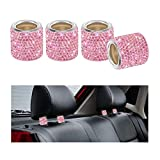 Car Headrest Collar, YINUO 4 Pack Universal Crystal Car Seat Headrest Decoration Charms For Auto Car Truck SUV Vehicle - Pink