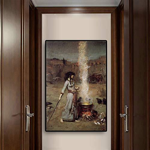 Frau porträt magischen Kreis leinwand gedruckt von skandinavischen Wohnzimmer wandbild rahmenlose malerei 40x60 cm