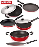 NIRLON Introduces The Classic Range Set ( Flat Dosa Tawa 27.5cm ,Phulka Tawa 28.5cm , Fry Pan With Stainless Steel Lid 2 Ltr , Kadai 1.5 Ltr , Tapper Pan 20 cm , Appa Chatti 22 cm ) All Prouduct Pure Aluminum Non-Stick With Bakelite Handles Have Been Designed For A Solid And Comfortable Grip