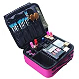 MLMSY Make-up Tasche Reise Make-up Zug Fall Kosmetiktasche Kulturbeutel Organizer Tragbare Make-up Pinsel Aufbewahrungstasche mit einstellbaren Teiler für Kosmetik Toiletry Jewelry (Pink)