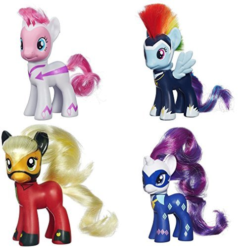 My Little Pony Power Ponies Fili-Second Pinkie Pie, Zapp Rainbow Dash Mistress Mare-Velous Applejack & Radiance Rarity Figure Bundle by MLP