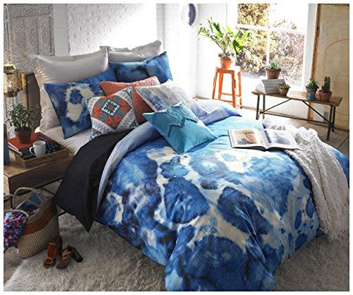 blissliving Home 3 Stück Casa Azul Bettwäsche Set, blau, Queen