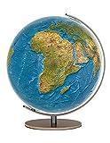 Columbus DUORAMA Leuchtglobus: Tischmodell, TING-fähig, handkaschiertes Kartenbild auf Acrylglaskugel, Kugeldurchmesser 34 cm, Meridian aus Edelstahl, Fuß aus Makassar-Echtholzfurnier