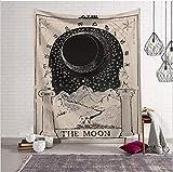 HLLCY Wolf Moon Star Disk Wandteppich Bedruckte Picknick-Mattenbad Bad Handtuch Strand Handtuch Schal Wohnzimmer Schlafzimmer-200(L) X150(H)