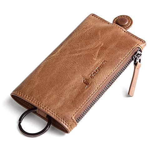 L'Alpina Premium Qualität Schlüsselmäppchen ECHTES Leder Schlüsseletui mit Ring Schlüsselanhänger mit Reißverschluss Schlüsseltasche für Damen und Herren Autoschlüssel-Hülle mit Geldtasche (Alpina Schlüsselanhänger)