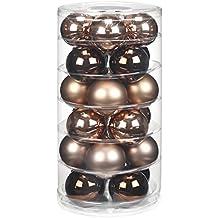24 Christbaumkugeln GLAS 6cm // Weihnachtskugeln Baumkugeln Baumschmuck Weihnachtsdeko Kugeln Glaskugeln Dose, Farbe:Elegant Lounge ( schokolade braun )
