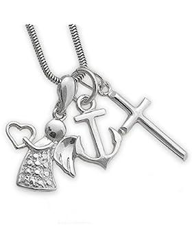 4 teilige Silberschmuck Kreuz Schutzengel-Herz Anker Anhänger mit Silber Schlangenkette 40 45 50 55cm + Geschenkbox...