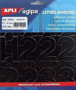 Agipa 122041 Pochette 286 chiffres adhésifs 47 mm Noir