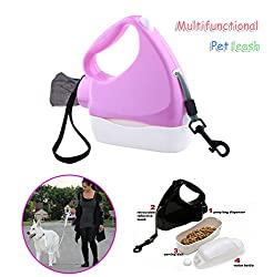 Generic Pink, 3M : New 3M Retractable Dog Leash Pet Dog Puppy Walking Leashes Portable Multifunctional Containing Kettle Dog Bowl Garbage Bag