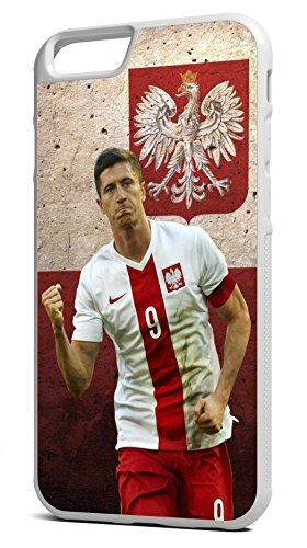 Robert Lewandowski Euro 2016Polen Flagge Europameisterschaft iPhone 6/6S 11,9cm schwarz Hard Gummi TPU Bumper Case/Cover Gummi Hard Case Cover