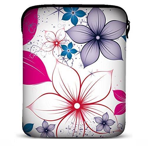 MySleeveDesign Samsung Galaxy Tab 4 3 S Sleeve Hülle für Tablets von 9,7 - 10,5 Zoll - Tasche geeignet für Apple iPad Pro & Air Lenovo A10 Acer Aspire Note 3 Asus Sony uvm. - Pink Flowers [10]
