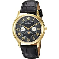 Grovana Unisex Quartz Watch with Black Dial Analogue Display and Black Leather Strap 1025.1517