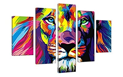 5 Piece Animal Lion Oil Painting Pictures Art print on the canvas Home Wall Art Picture to Hang Wall Art Creative Home Decorators (Unframed) - low-cost UK light store.