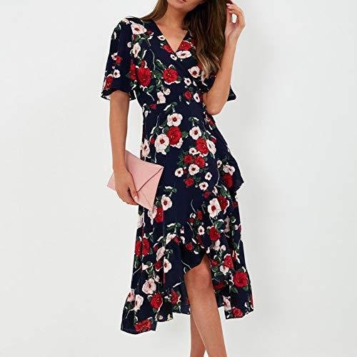 DELI Sommer Strand Kleid Boho Stil Frauen Floral Print Chiffon Kleid Sexy V-Ausschnitt Kurzarm A-Line Mini Party Kleid Floral Print Chiffon Kleid