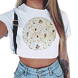 Kviklo Damen T-Shirt Oberteile Krawatte Schleife Rüschen Flügelärmel Gestreift Druck Patchwork Bluse Shirt(3XL(46),Weiß-Verbrannt)