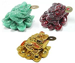 1 Red 1 Green 1 Gold Fortune Coin Money Toad/ Frog /Chan Chu~ Feng Shui Chinese Charm of Prosperity Decoration Gift US Seller by We pay your sales tax