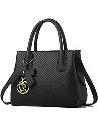 Vegang Women Fashion Pu Leather Top Handle Handbags Tote Purse Bag Shoulder Satchel (Black) By Vjp