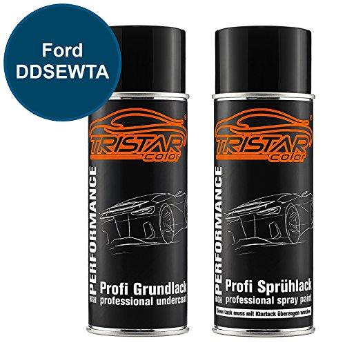 TRISTARcolor Autolack Spraydosen Set für Ford DDSEWTA Blue Candy Metallic/Aruba Blau Metallic Grundlack Basislack Sprühdose 400ml