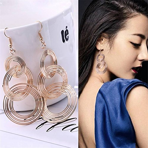 Kreative Weiblich Kostüm - Thumby Runde Mehrschichtige Kreative Weibliche Ohrringe Mode Ohrringe Kostüm Zubehör Temperament Ohrringe Legierung Unisex Rund Plattiert, Gold