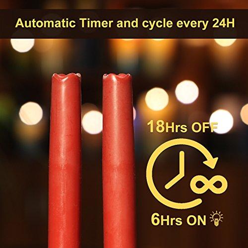 Geben U Stabkerzen LED Spitzkerzen mit Timer Led Flammenlos Kerzen Echtwachs, 30,5 cm, rot, 2 Stück, Hauptdekoration für Weihnachten Hochzeit Valentinstag - 5