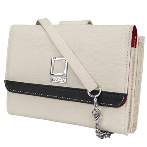 Price comparison product image Lencca Nikina Vegan Leather Crossbody Smartphone Clutch Wallet Purse with Removable Chain Shoulder Strap - Ivory