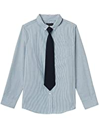French Toast Boys' Long Sleeve Dress Shirt with Tie, Rush of Blue, 7