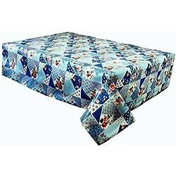 2metros (200cm x 137cm) vinilo rectangular mantel, rosa rosas sobre azul Patchwork, tamaño 6plazas se limpia con un paño húmedo, textil con (195)