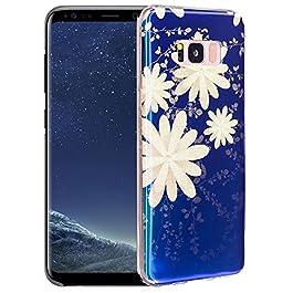 Galaxy S8 Custodia Silicone, Galaxy S8 Cover TPU, JAWSEU Bella Luminoso Floreale Protezione Bumper per Samsung Galaxy S8…