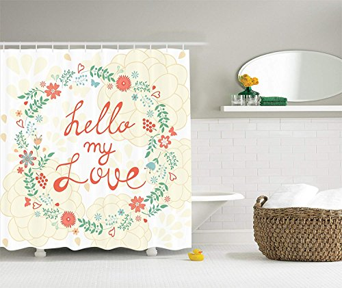 BUZRL Hello My Love Chrysanthemum Floral Bouquet Home Modern Art Sample Designer Artwork Quote Bathroom Decor for Teen Girls Feminine Print Polyester Fabric Shower Curtain, Ivory Coral Green Ivory Floral Swag