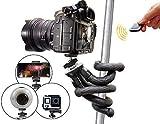 Flexibles Stativ für Smartphone mit Bluetooth-Auslöser, Selfiestick, Reisestativ für iPhone X XS, Samsung S7 Edge S8+ S9 Plus S10, Huawei P20 P30, DSLR Canon Nikon Sony, Actioncam GoPro - weiß, Atairs