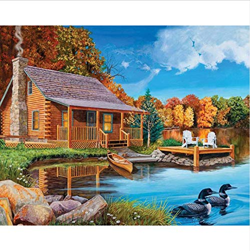 GUHUA DIY,Full,Diamond Embroidery,Nature River Hut,Diamond Painting,Cross Stitch,3D,Diamond Mosaic,Decoration 40X50CM Cross-stitch-hut