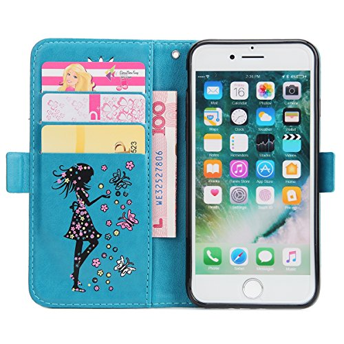 Custodia per Apple iPhone 7, ISAKEN Custodia in Sbalzato Embossed Design PU Pelle Book Folding Case Glitter Bling Cover, Supporto Stand e Porta Carte Integrati Portafoglio Flip Cover con Chiusura Magn Girl: blu