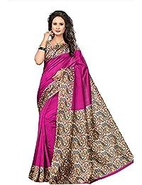 PRISKA Ethinista Fashion Mart Pink Colored Bhagalpuri Silk Saree With Matching Blouse