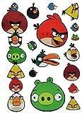 15 tlg. Set Wandtattoo / Fensterbilder - Angry Birds - selbstklebend + Wiederverwendbar - Wandsticker Vögel Red Jim Jake Chuck Schwein Sticker Aufkleber