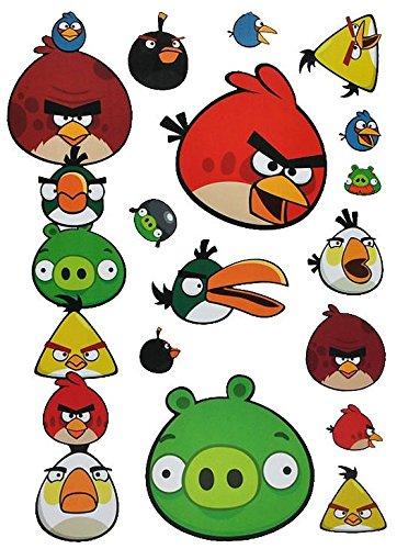 oo / Fensterbilder - Angry Birds - selbstklebend + Wiederverwendbar - Wandsticker Vögel Red Jim Jake Chuck Schwein Sticker Aufkleber ()