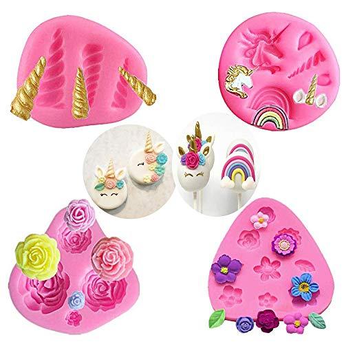 Mini Molde de Silicona de Unicornio, Cuerno de Orejas de Unicornio,moldes de Chocolate Fondant de Cupcake Toppers para la Fiesta temática de Unicornio y cumpleaños de niños (Juego de 4)