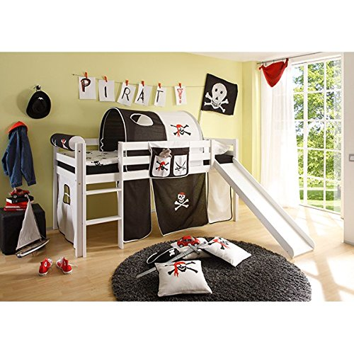 Rutschbett Kiefer massiv weiß EN 747-1 + 747-2 Hochbett Kinderbett Spielbett Jugendbett Massivbett Kinderzimmer Jugendzimmer -