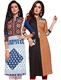 Jevi Prints - Pack of 3 Women's Unstitched Lawn Cotton Printed Kurti Fabrics (Fabrics only for Top)