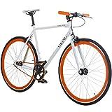 28' Fixie Singlespeed Bike Viking Blade 5 Farben zur Auswahl, Farbe: Weiss / Orange; Rahmengrösse: 53 cm