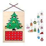 ROKOO Árbol de Navidad Calendario de adviento Kit de Paneles Fieltro Tela Cuenta atrás Árbol Decoración para el hogar de Vacaciones