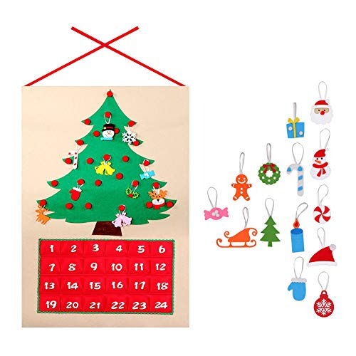 ZREAL Weihnachtsbaum Adventskalender Panels Kit Filz Stoff Countdown Baum Urlaub Home Decor